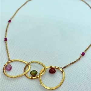 Elegant 3 piece bead and gold rimmed necklace
